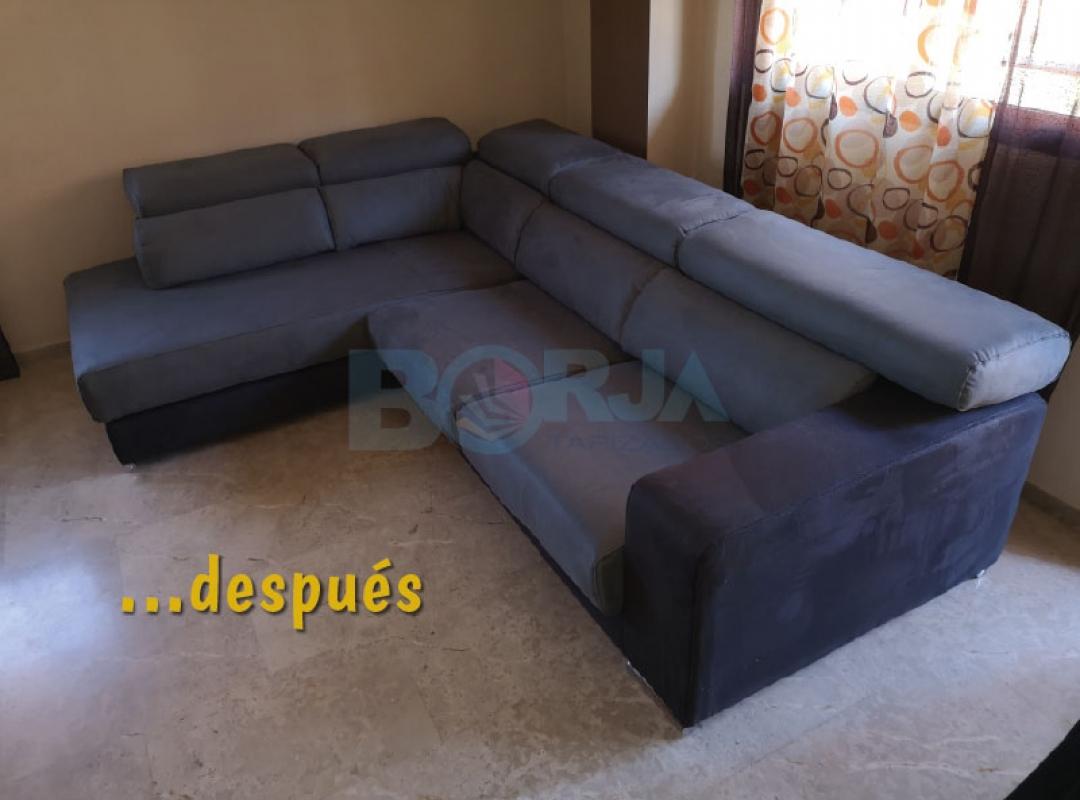 Tapizado de sofá chaiselongue en tela antimanchas en De Realón