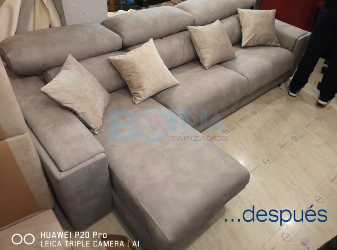 Tapizado de sofá con chaiselongue y confección de cojines decorativos en Almassora
