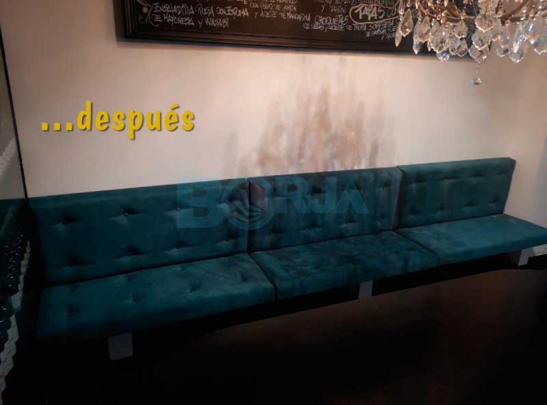Restauración y tapizado de todo el mobiliario de Taberna La Mora en Valencia